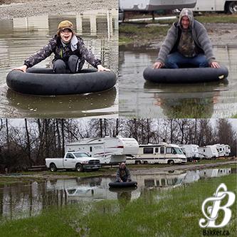 Bakker and BakkerBoy Tubing on a flooded road!