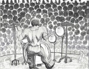 An over-the-shoulder drawing of a drummer playing to an audience